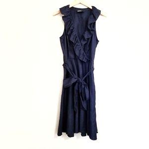 American Living Navy Ruffle 100% Linen Midi Dress